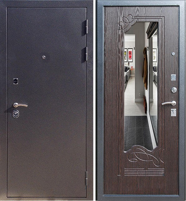железные двери венге зеркало