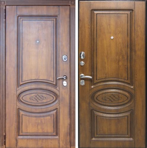 дверь входная металлическая с зеркалом и патиной